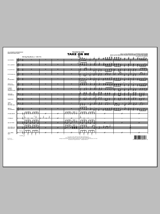 Take On Me (COMPLETE) sheet music for marching band by Tim Waters, Magne Furuholmne and Pal Waaktaar. Score Image Preview.