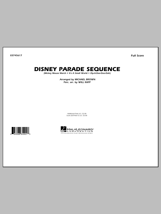 Disney Parade Sequence (COMPLETE) sheet music for marching band by Michael Brown and Will Rapp. Score Image Preview.