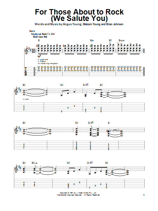 Tablature guitare For Those About To Rock (We Salute You) de AC/DC - Playback Guitare