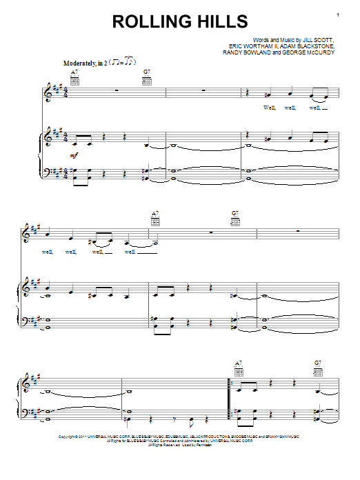 Rolling Hills (Piano, Vocal & Guitar (Right-Hand Melody))