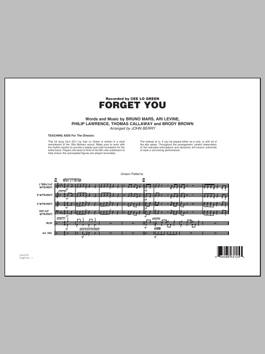 Forget You (COMPLETE) sheet music for jazz band by Bruno Mars, Ari Levine, Brody Brown, Philip Lawrence, Thomas Callaway, Cee Lo Green and John Berry. Score Image Preview.