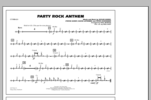 Party Rock Anthem - Cymbals (Marching Band)