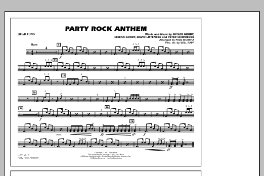 Party Rock Anthem - Quad Toms (Marching Band)