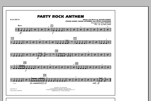 Party Rock Anthem - Bass Drum (Marching Band)
