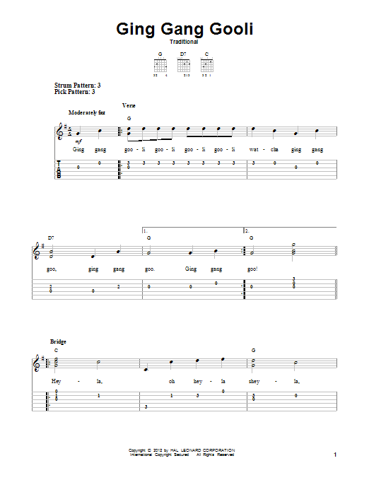Tablature guitare Ging Gang Gooli de Traditional - Tablature guitare facile