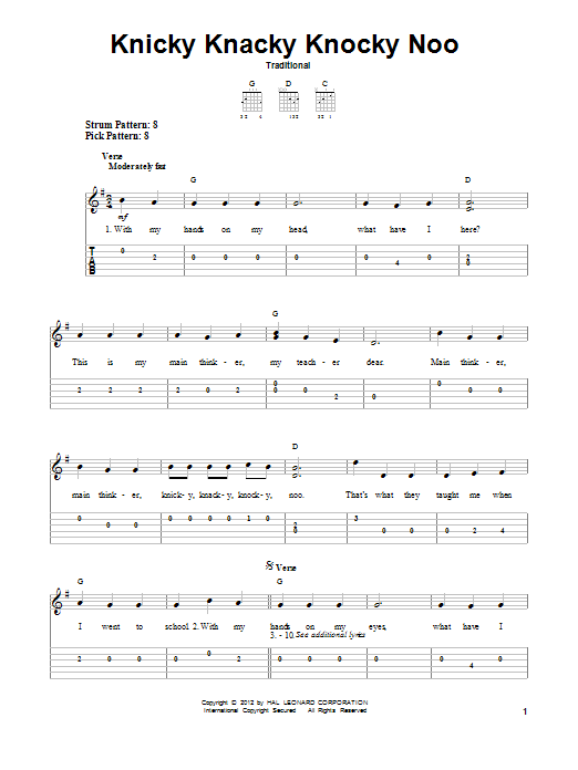 Tablature guitare Knicky Knacky Knocky Noo de Traditional - Tablature guitare facile