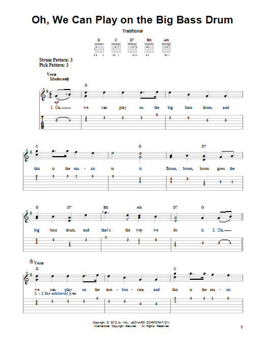 Tablature guitare Oh, We Can Play On The Big Bass Drum de Traditional - Tablature guitare facile