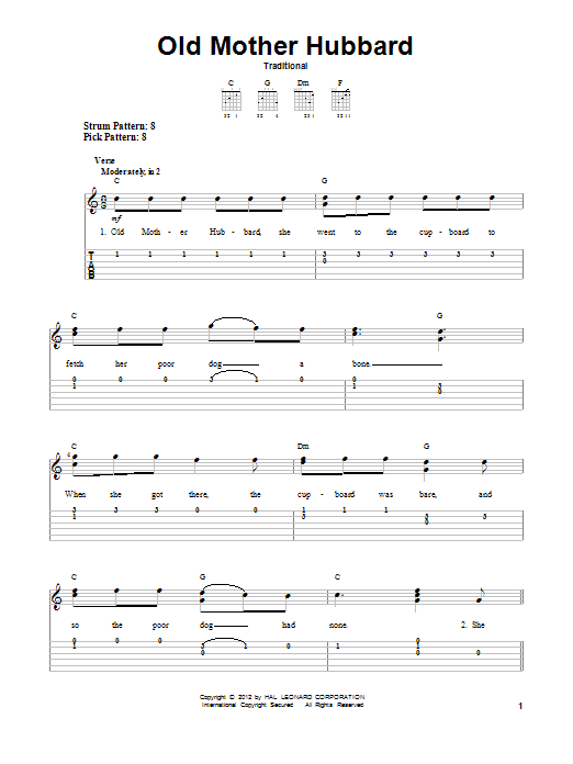 Old Mother Hubbard (Easy Guitar Tab)