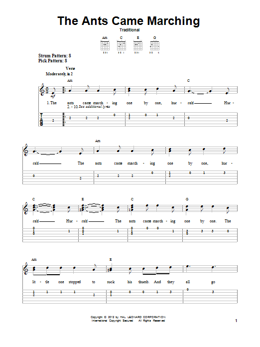 Tablature guitare The Ants Came Marching de Traditional - Tablature guitare facile