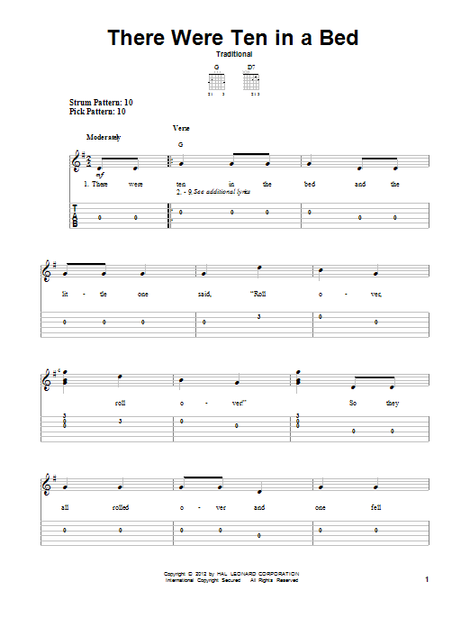 Tablature guitare There Were Ten In A Bed de Traditional - Tablature guitare facile