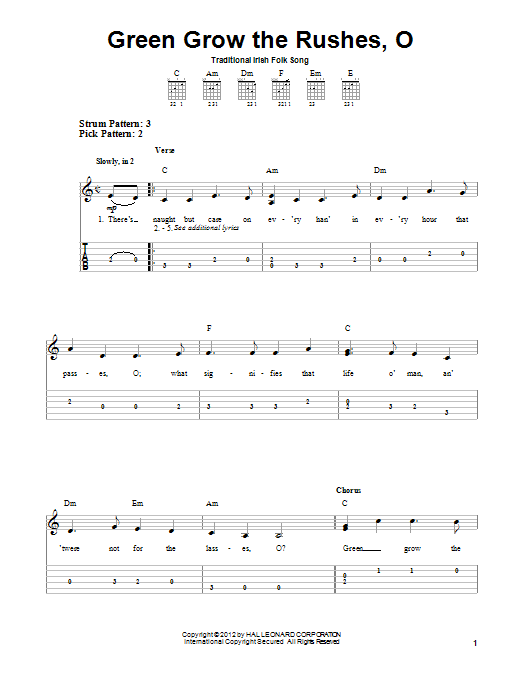 Tablature guitare Green Grow The Rushes, O de Irish Folksong - Tablature guitare facile