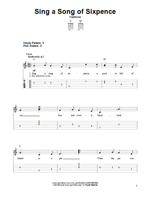 Tablature guitare Sing A Song Of Sixpence de Traditional - Tablature guitare facile