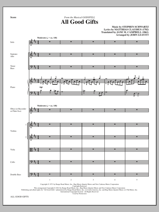All Good Gifts (complete set of parts) sheet music for orchestra/band (Strings) by John Leavitt and Stephen Schwartz. Score Image Preview.