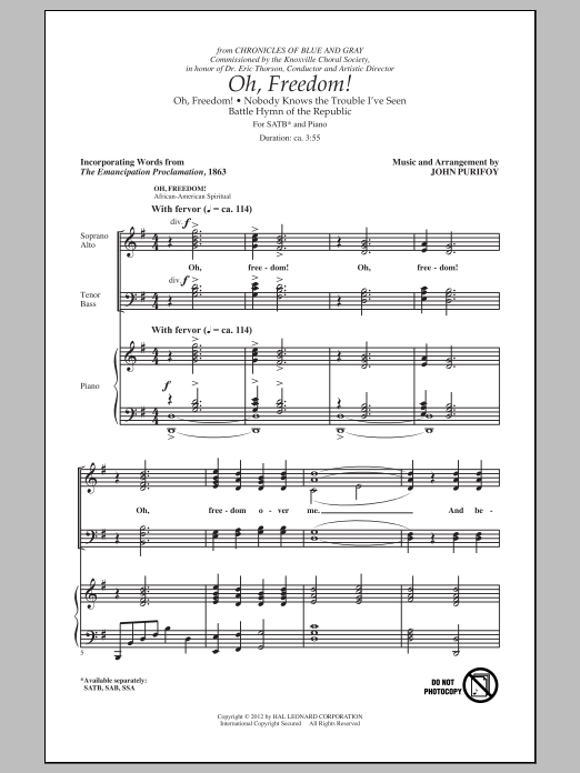 Oh, Freedom! (Medley) (SATB Choir)
