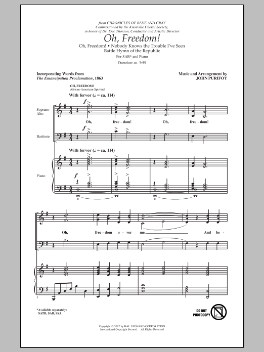 Oh, Freedom! (Medley) Sheet Music