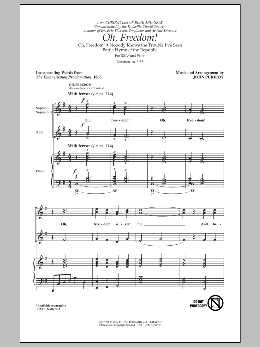 Partition chorale Oh, Freedom! (Medley) de John Purifoy - SSA