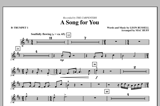 A Song For You (complete set of parts) sheet music for orchestra/band (chamber ensemble) by Mac Huff, Carpenters and Leon Russell. Score Image Preview.