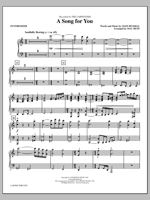 A Song For You - Synthesizer Sheet Music