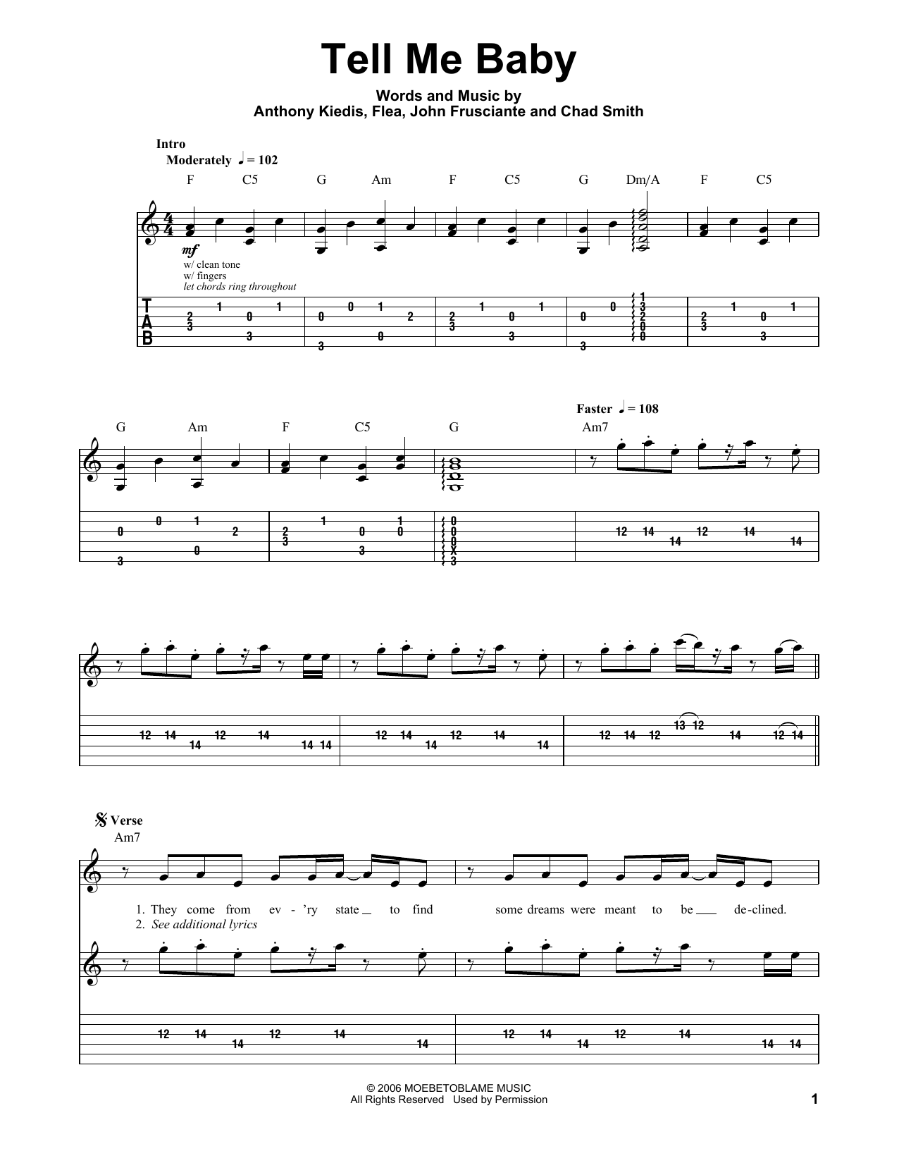 Tablature guitare Tell Me Baby de Red Hot Chili Peppers - Playback Guitare