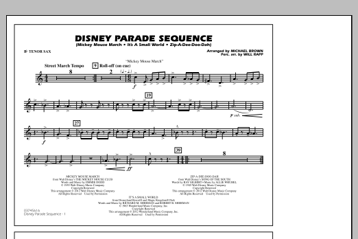 Disney Parade Sequence - Bb Tenor Sax (Marching Band)