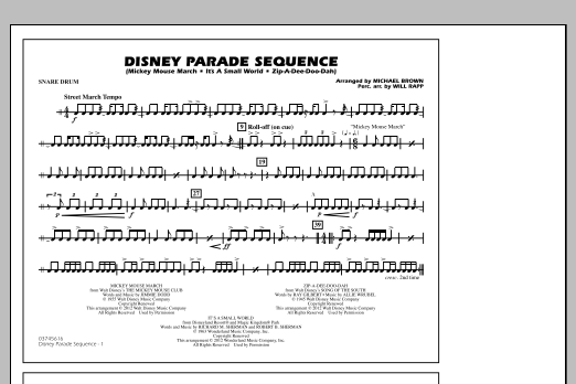 Disney Parade Sequence - Snare Drum (Marching Band)