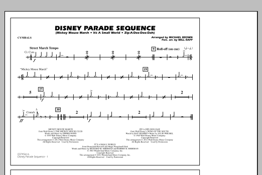 Disney Parade Sequence - Cymbals (Marching Band)