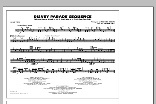 Disney Parade Sequence - Quad Toms (Marching Band)