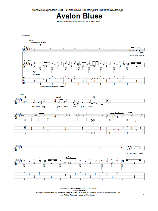 Avalon Blues Sheet Music