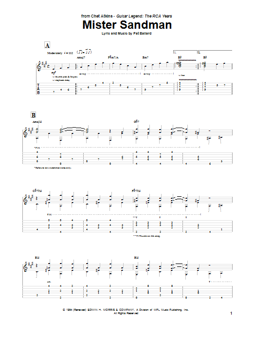 Tablature guitare Mister Sandman de The Chordettes - Tablature Guitare