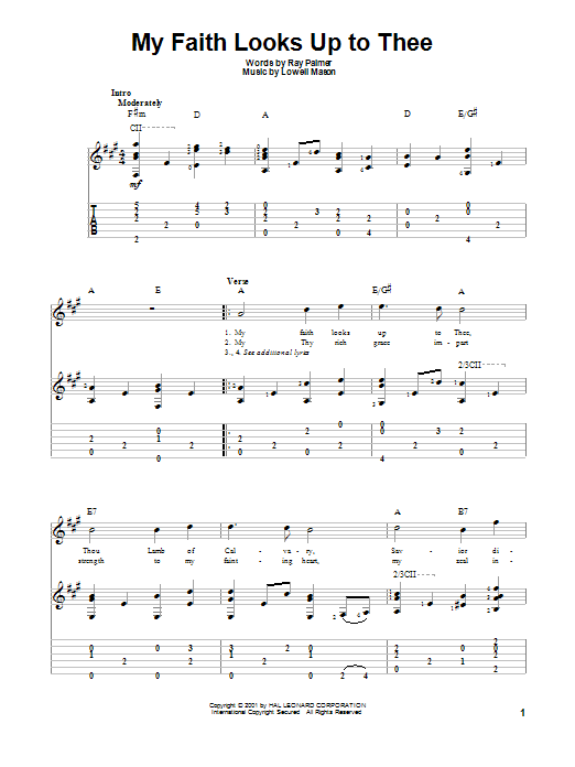 My Faith Looks Up To Thee Guitar Tab by Lowell Mason (Guitar Tab ...
