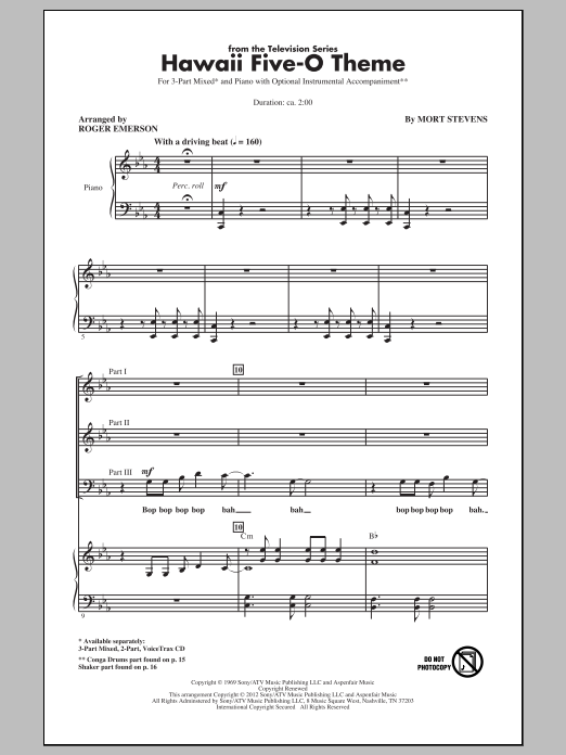 Hawaii Five-O Theme (arr. Roger Emerson) Sheet Music