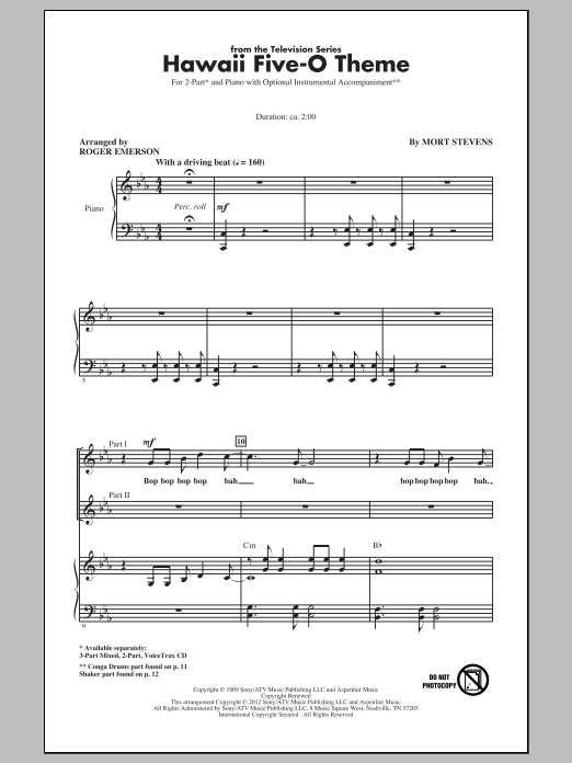 Hawaii Five-O Theme (arr. Roger Emerson) (2-Part Choir)