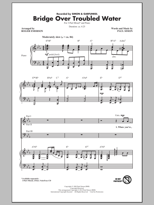 Bridge Over Troubled Water (arr. Roger Emerson) Sheet Music