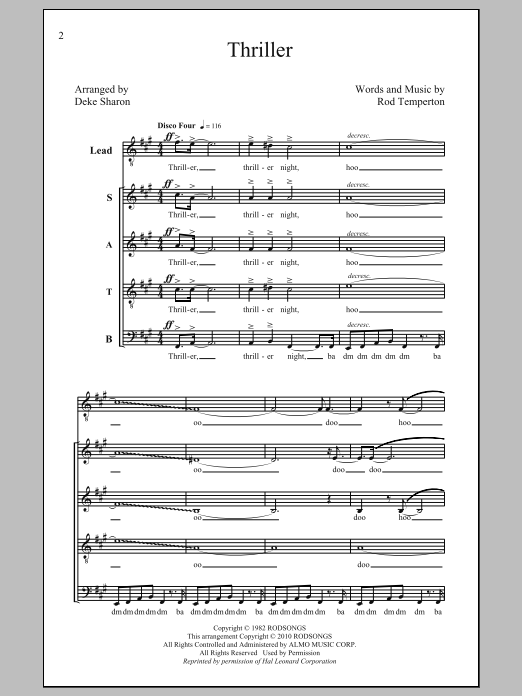 Partition chorale Thriller de Deke Sharon - SATB