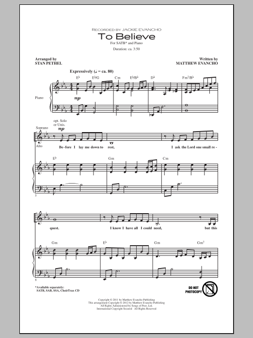 Partition chorale To Believe de Jackie Evancho - SATB