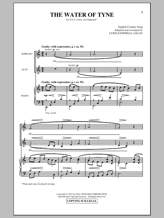 The Water Of Tyne Sheet Music