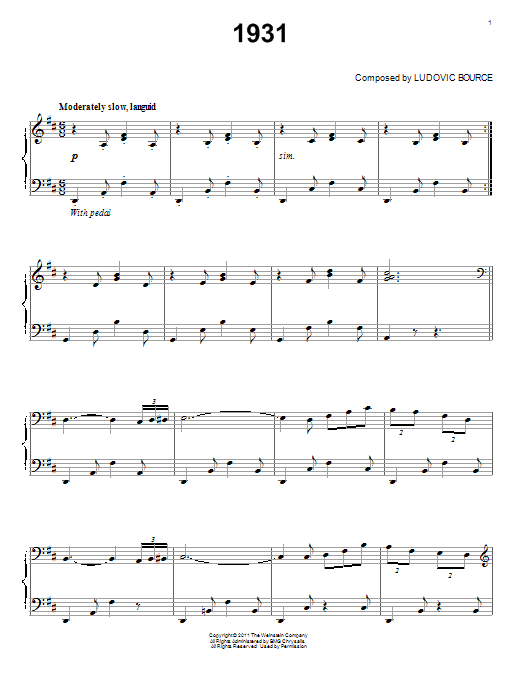 Partition piano 1931 de Ludovic Bource - Piano Solo
