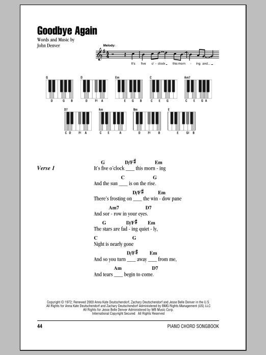 John Denver - Goodbye Again Lyrics | MetroLyrics