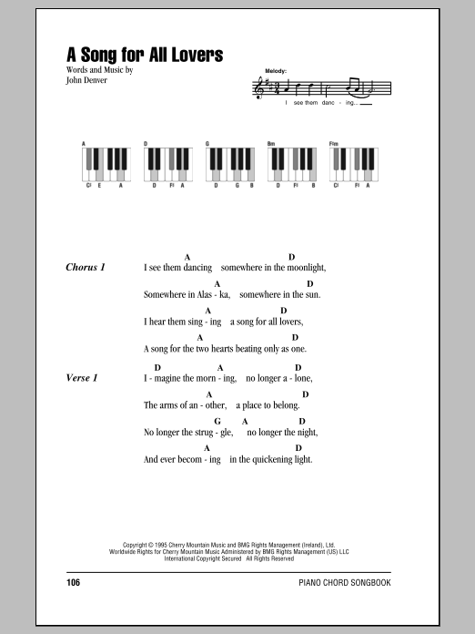 A Song For All Lovers Sheet Music
