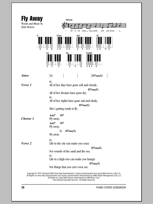 Fly Away Sheet Music