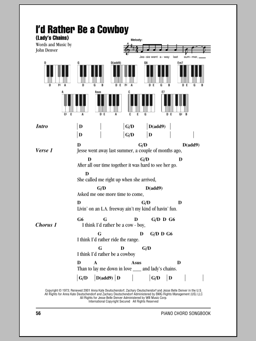 Iu0026#39;d Rather Be A Cowboy (Ladyu0026#39;s Chains) sheet music by John Denver (Lyrics u0026 Piano Chords u2013 89412)