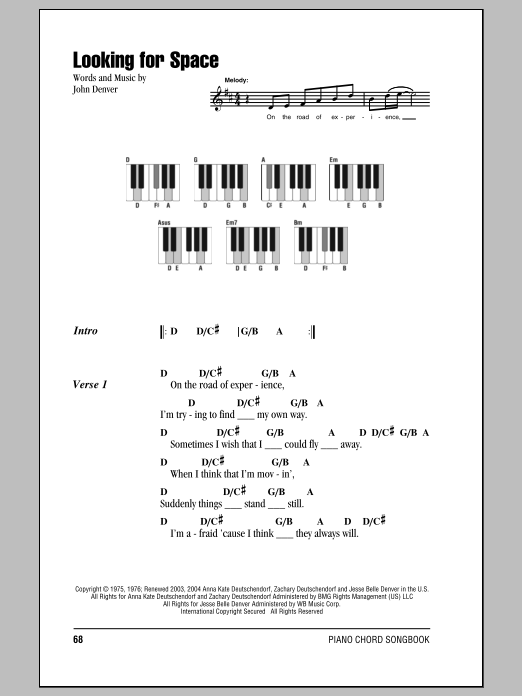 Looking For Space Sheet Music