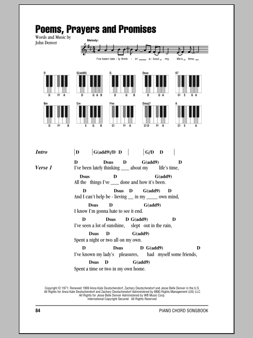 Poems, Prayers And Promises Sheet Music