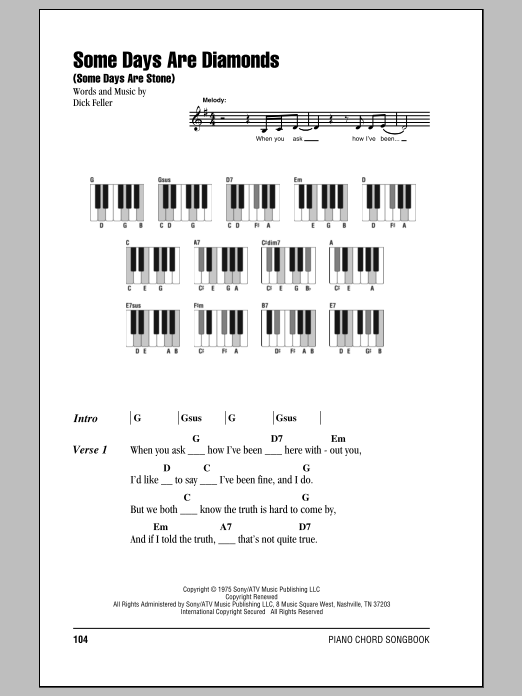Some Days Are Diamonds (Some Days Are Stone) Sheet Music