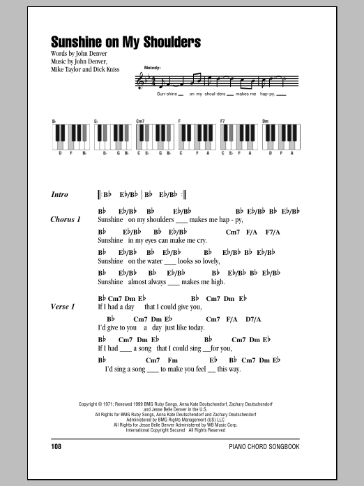 Sunshine On My Shoulders Sheet Music John Denver Lyrics Piano