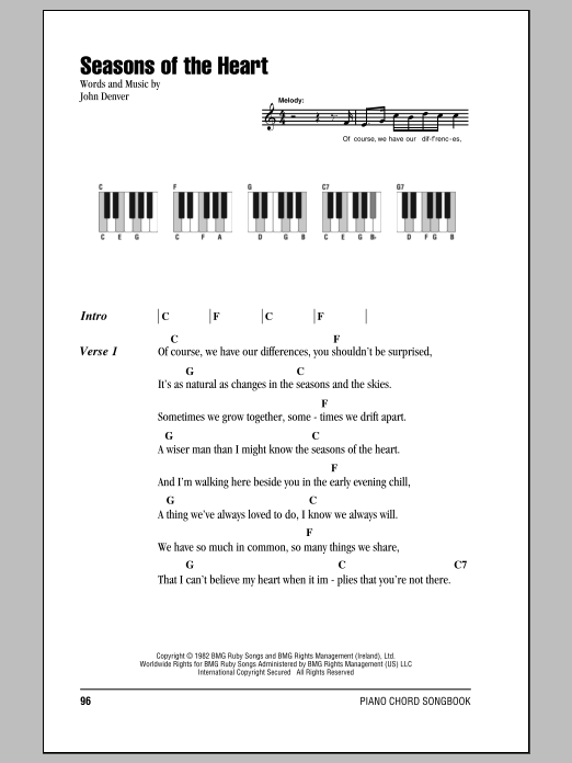 Seasons Of The Heart (Piano Chords/Lyrics)