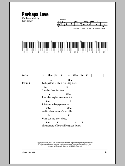 Perhaps Love Sheet Music