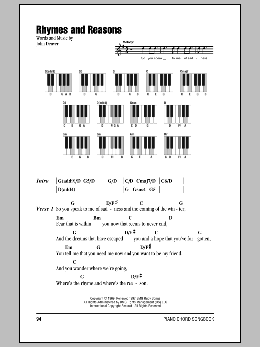 Rhymes And Reasons (Piano Chords/Lyrics)