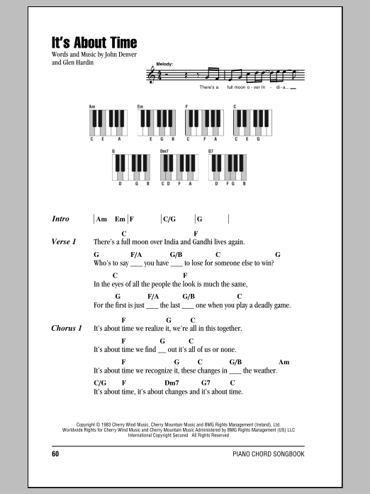 Its About Time Sheet Music John Denver Lyrics Piano Chords