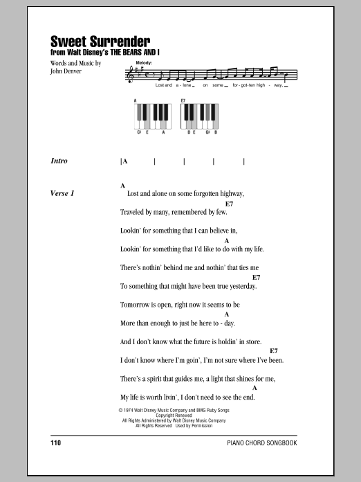 Sweet Surrender Sheet Music By John Denver Lyrics Piano Chords